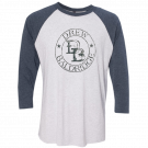 Drew Baldridge Heather White and Indigo Raglan Tee